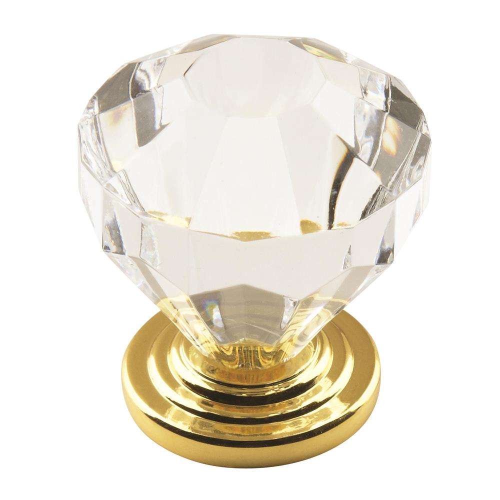 Amerock 14303CBB Traditional Classics 1-1/4 in (32 mm) DIA Cabinet Knob - Clear/Burnished Brass