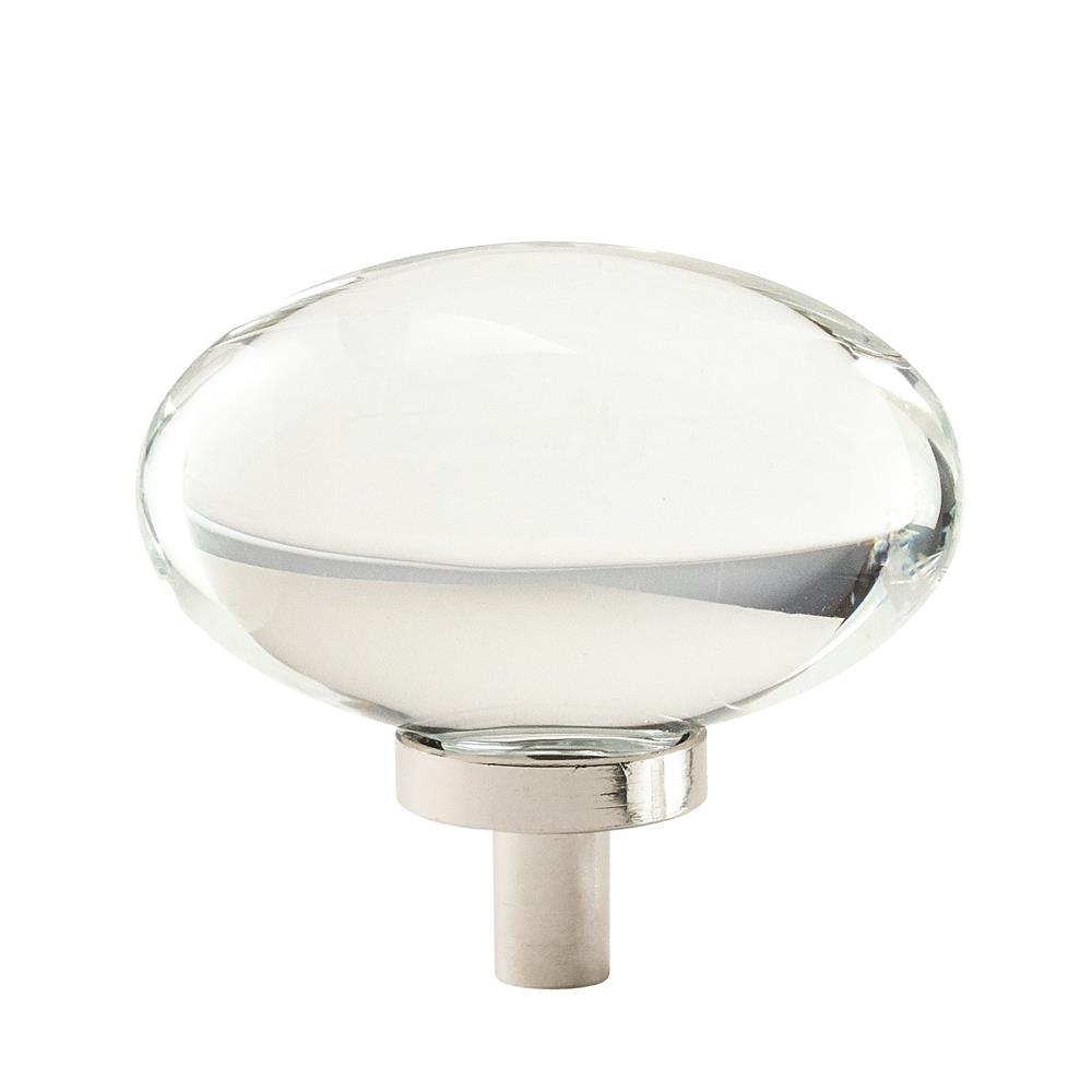 Amerock BP36651CPN Glacio Knob 1-3/4in(44mm) Diameter,  Clear Crystal/Polished Nickel