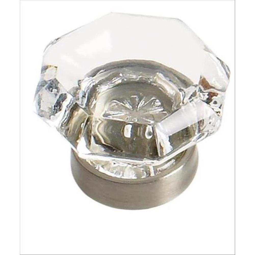 Amerock BP55266CG10 Traditional Classics 1-1/16 in (27 mm) DIA Cabinet Knob - Clear/Satin Nickel