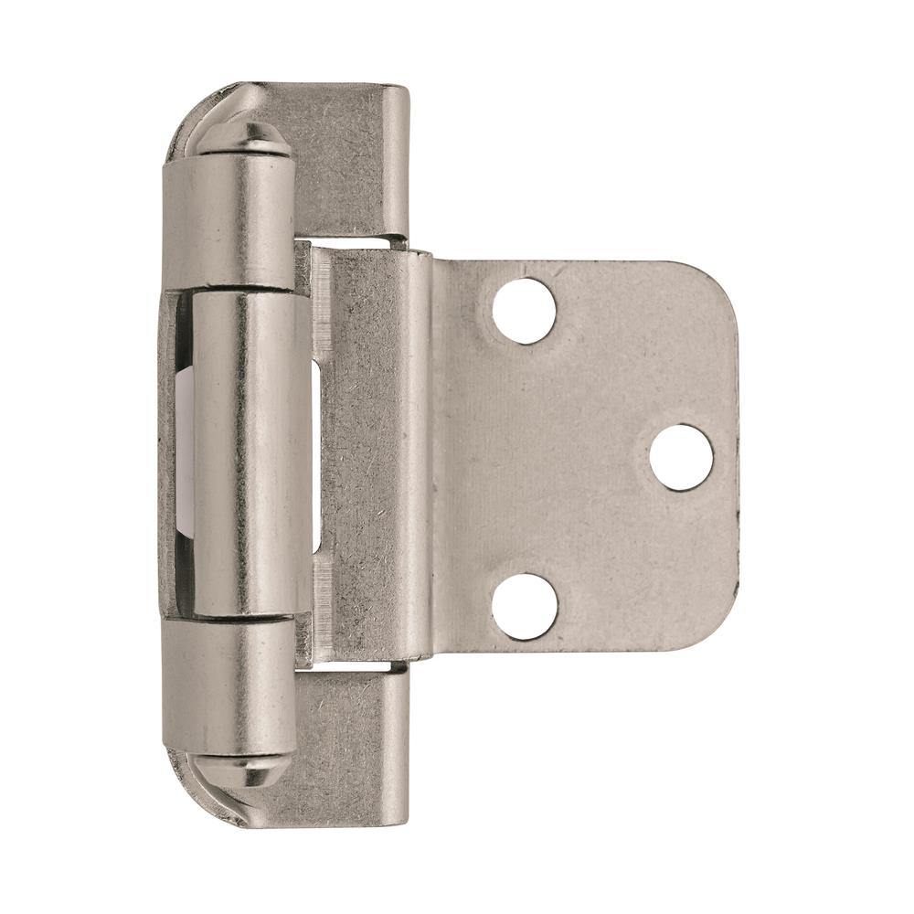 Amerock BPR7565G10 Self-Closing, Partial Wrap Hinge with 3/8 in. (10mm) Inset - Satin Nickel