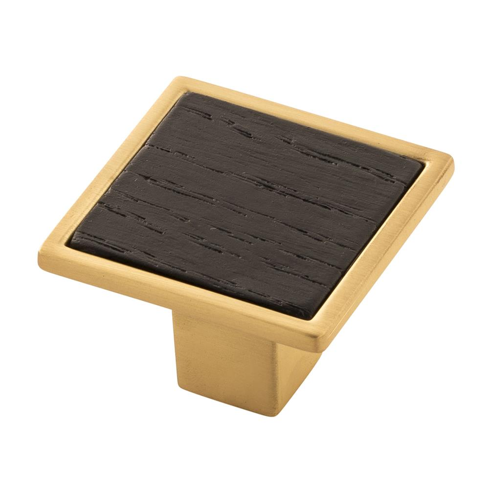 "Belwith-Keeler B076617WB-BGB Fuse Collection Knob 1-7/16"" Square Brushed Golden Brass With Black Wood Finish"