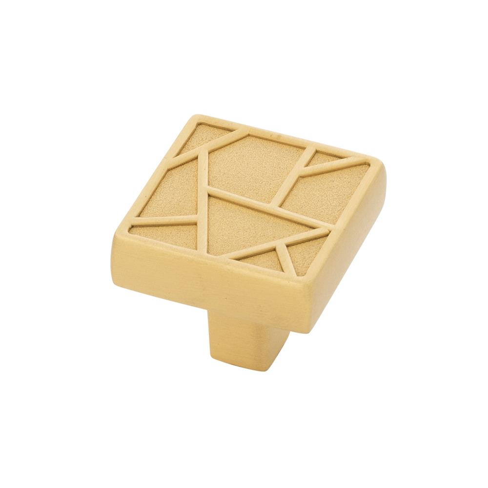 Belwith-Keeler B077134-BGB Cullet Collection Knob 1-3/8 Inch Square Brushed Golden Brass Finish