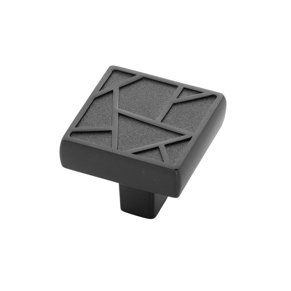Belwith-Keeler B077134-BM Cullet Collection Knob 1-3/8 Inch Square Black Mist Finish