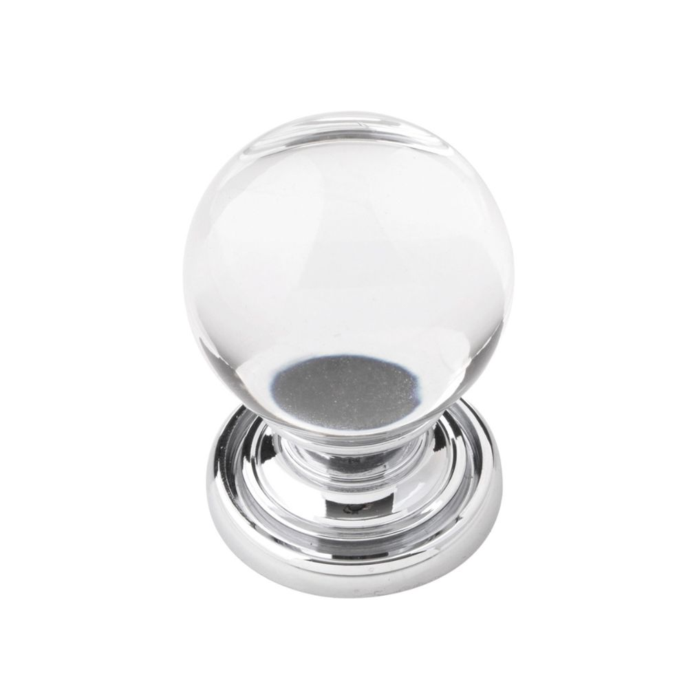 Belwith-Keeler B076568-GLCH Luster Collection Knob 1-1/8 Inch Diameter Glass with Chrome Finish