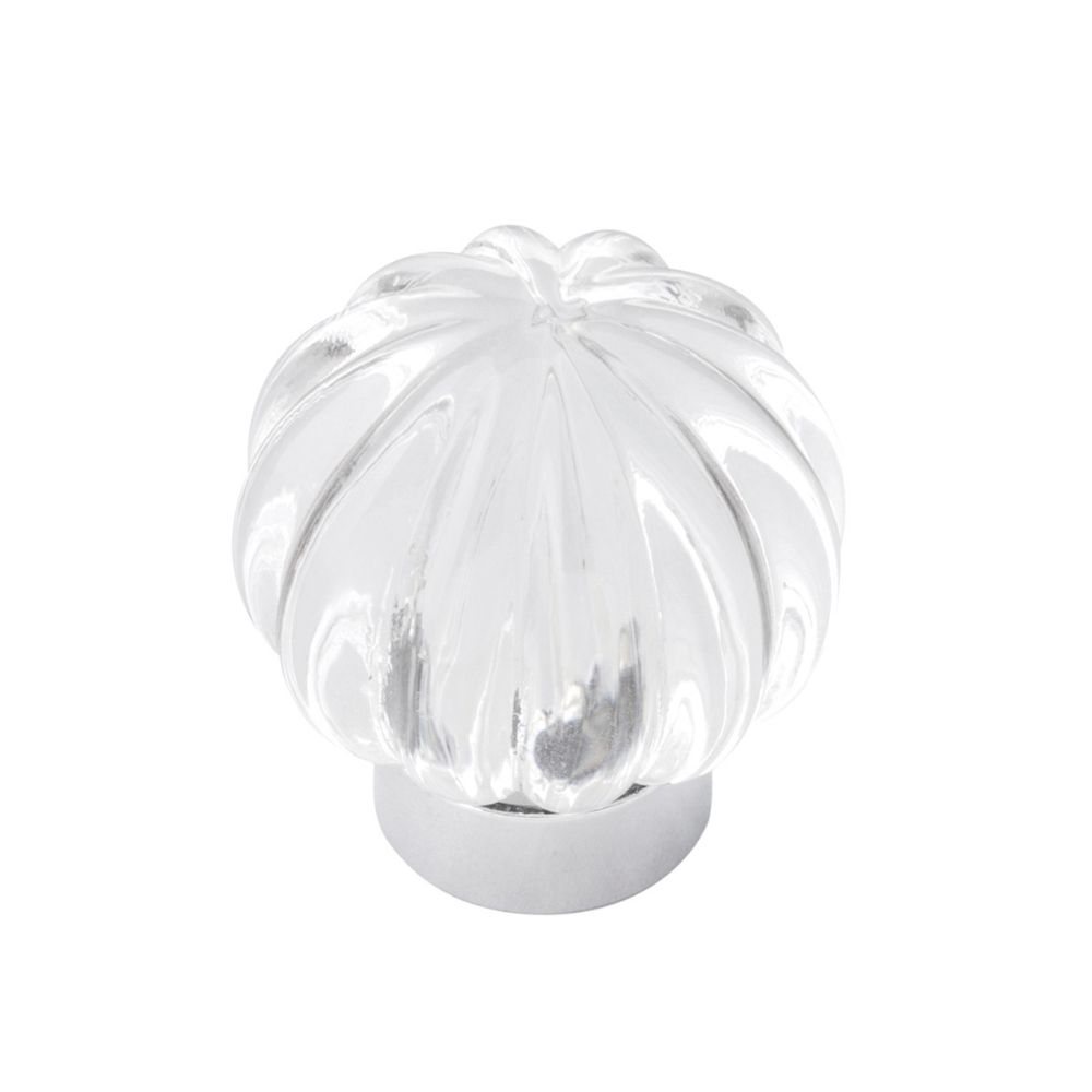 Belwith-Keeler B076571-GLCH Luster Collection Knob 1-1/4 Inch Diameter Glass with Chrome Finish