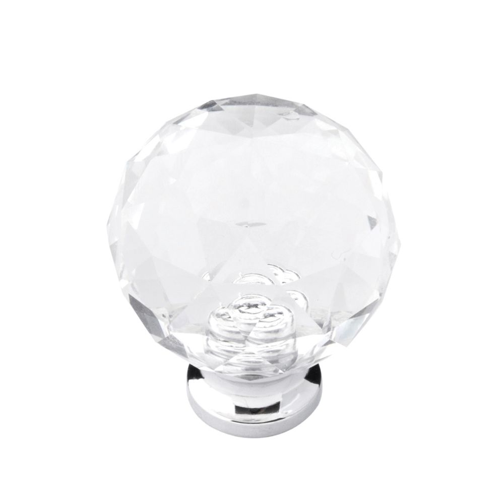 Belwith-Keeler B076572-GLCH Luster Collection Knob 1-1/4 Inch Diameter Glass with Chrome Finish