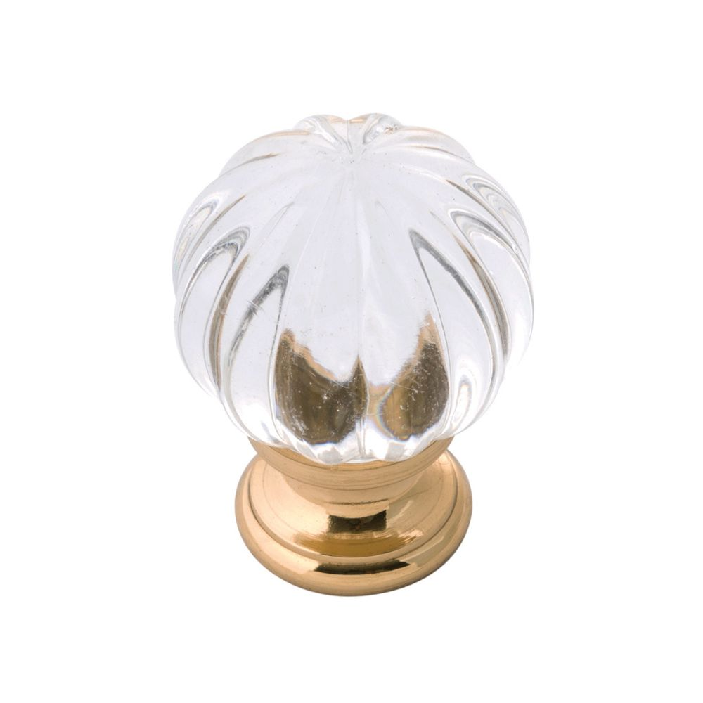 Belwith-Keeler B076573-GLPB Luster Collection Knob 1-1/4 Inch Diameter Glass with Chrome Finish