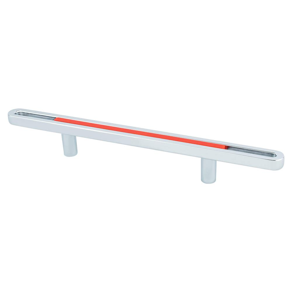 R. Christensen by Berenson Hardware 9748-1000-P Pull 96Mm Polished Chrome And Orange