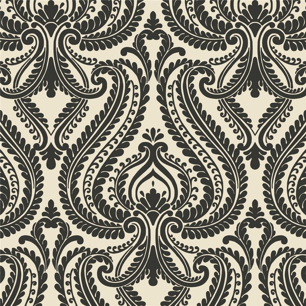 Beacon House by Brewster 2535-20625 Simple Space 2 Imperial Black Modern Damask Wallpaper in Black
