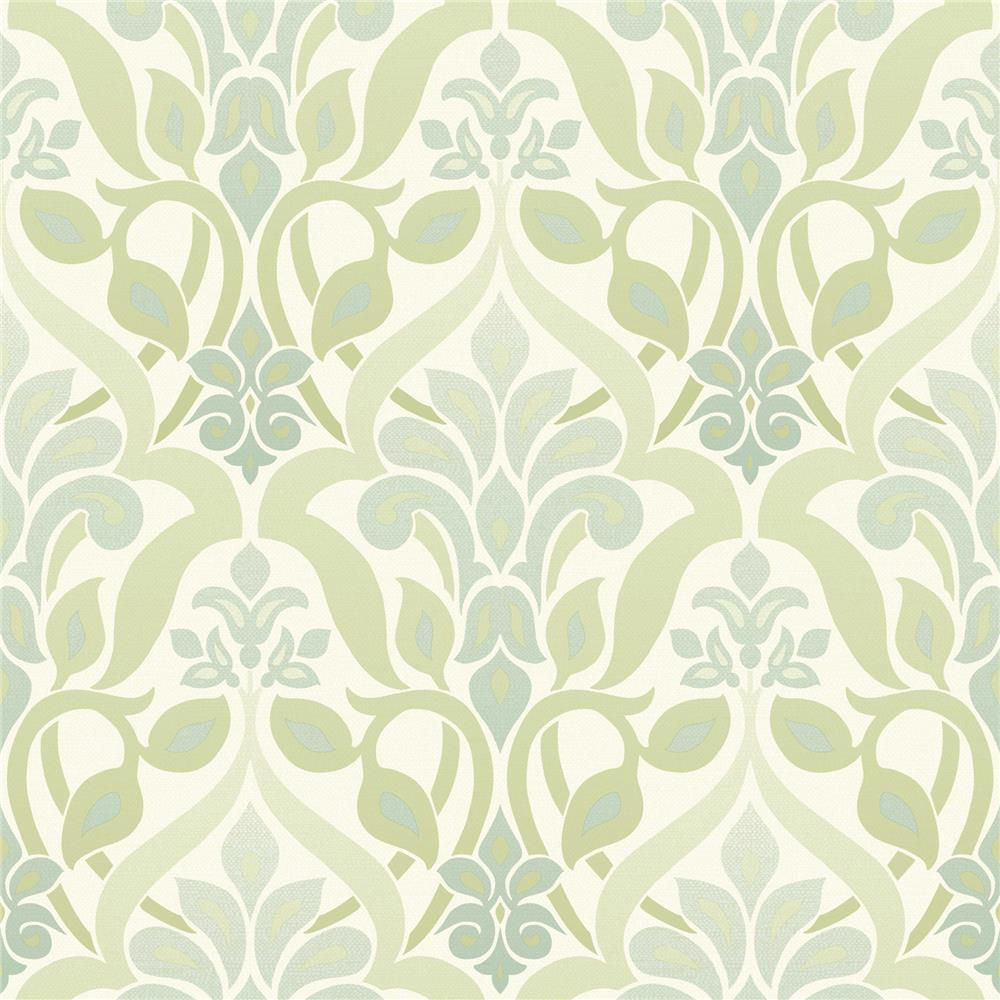 Beacon House by Brewster 2535-20643 Simple Space 2 Fusion Green Ombre Damask Wallpaper in Green