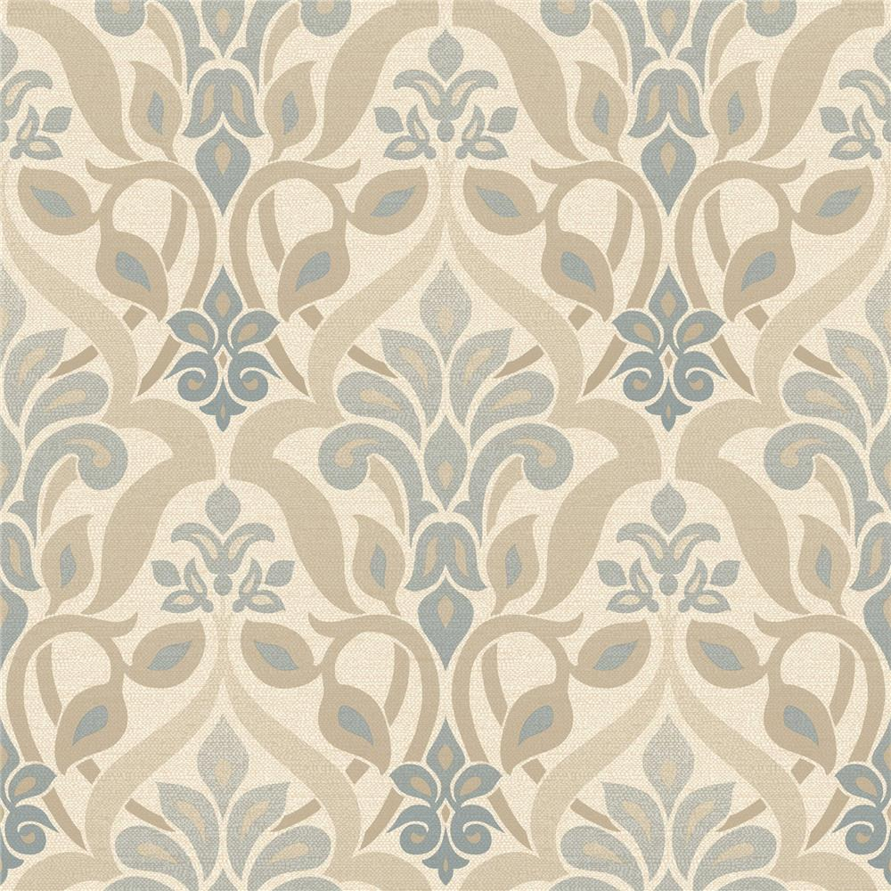 Beacon House by Brewster 2535-20646 Simple Space 2 Fusion Blue Ombre Damask Wallpaper in Blue
