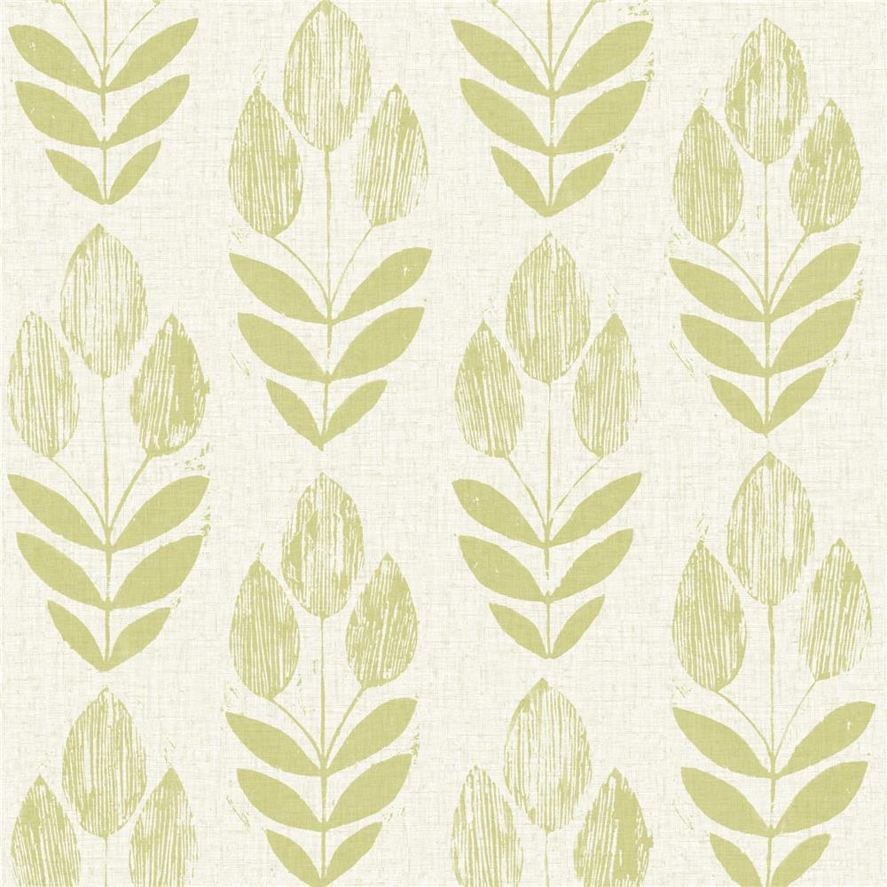 Beacon House by Brewster 2535-20649 Simple Space 2 Scandinavian Green Block Print Tulip Wallpaper in Green