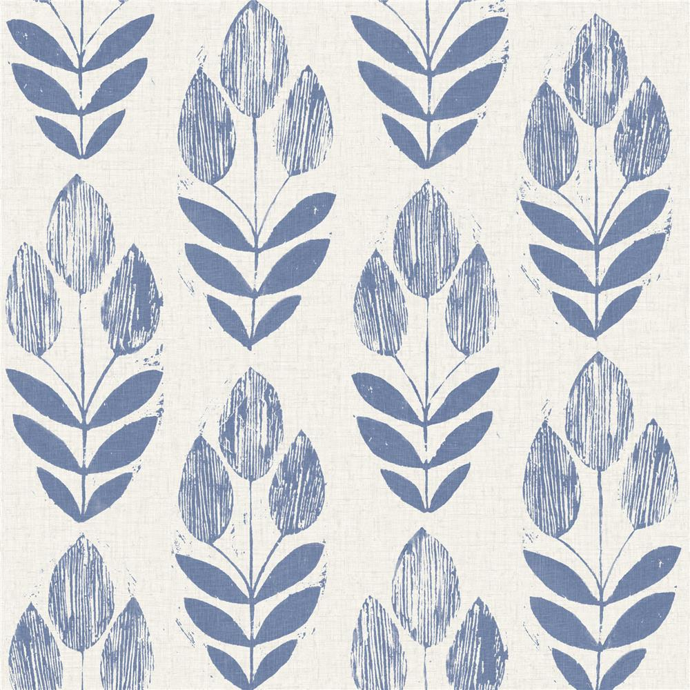 Beacon House by Brewster 2535-20652 Simple Space 2 Scandinavian Blue Block Print Tulip Wallpaper in Blue
