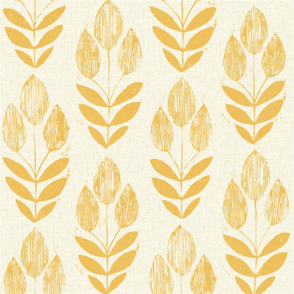 Beacon House by Brewster 2535-20654 Simple Space 2 Scandinavian Yellow Block Print Tulip Wallpaper in Yellow