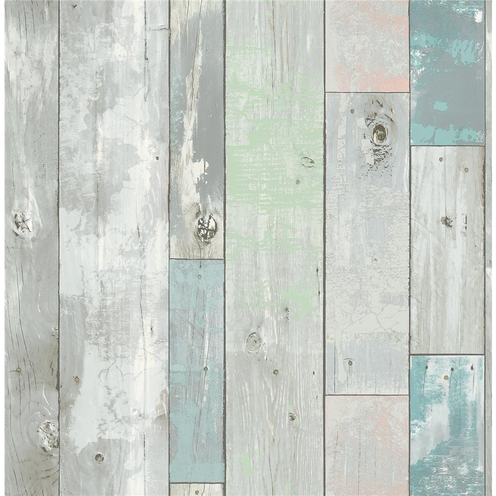 A-Street Prints by Brewster 2540-20416 Restored Deena Turquoise Distressed Wood Wallpaper
