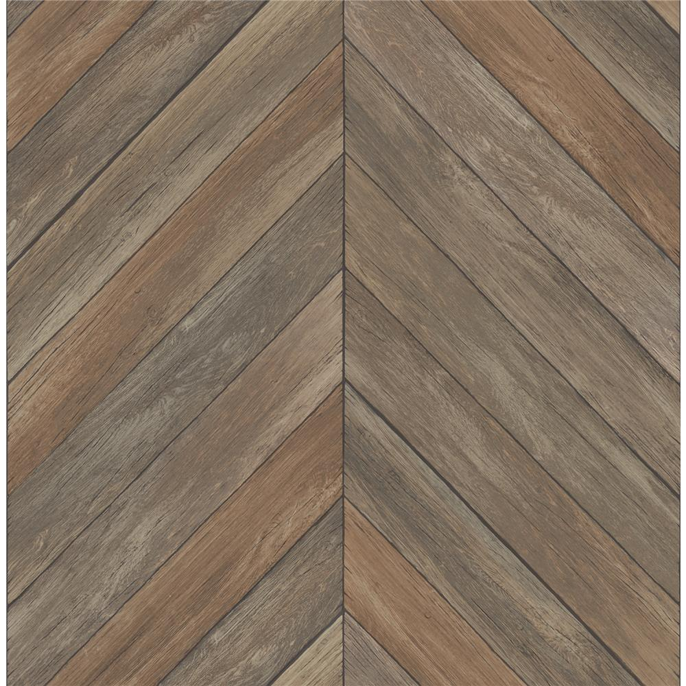 A-Street Prints by Brewster 2540-24006 Restored Parisian Brown Parquet Wallpaper