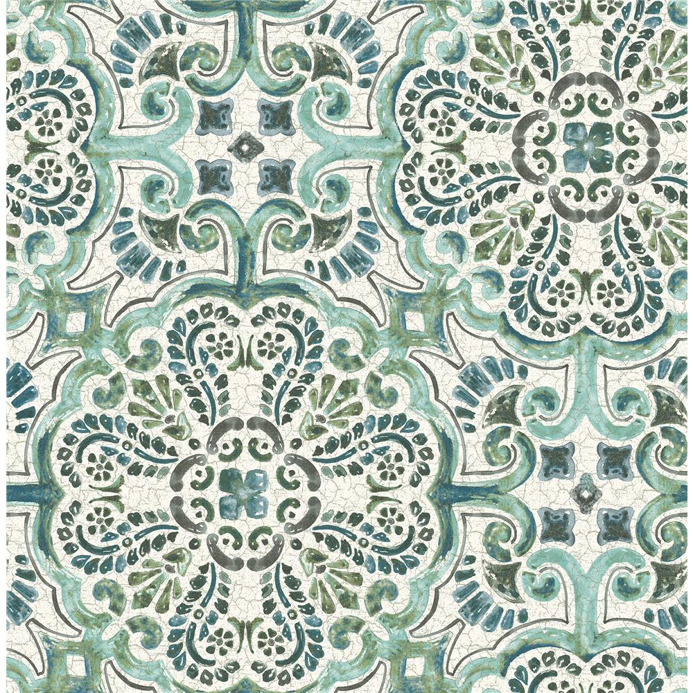 A-Street Prints by Brewster 2540-24044 Restored Florentine Green Tile Wallpaper