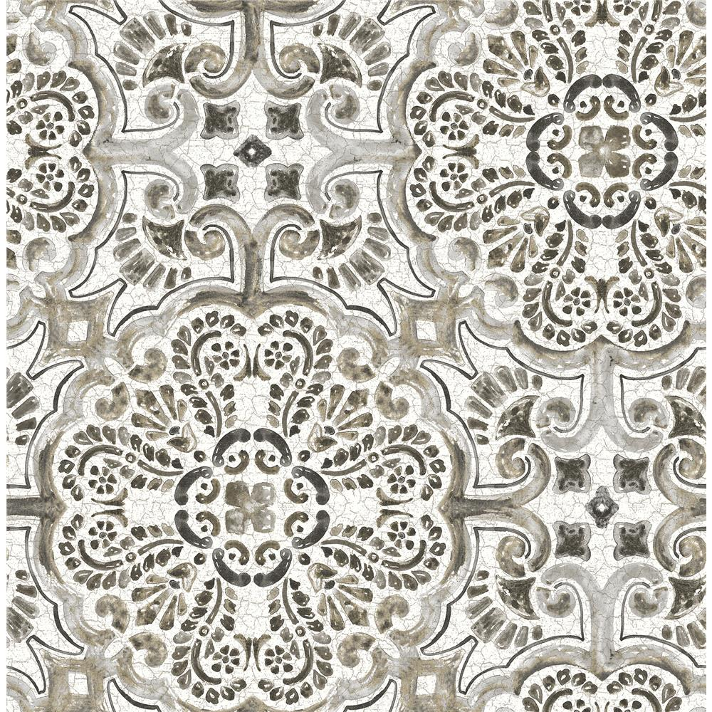 A-Street Prints by Brewster 2540-24045 Restored Florentine Grey Tile Wallpaper