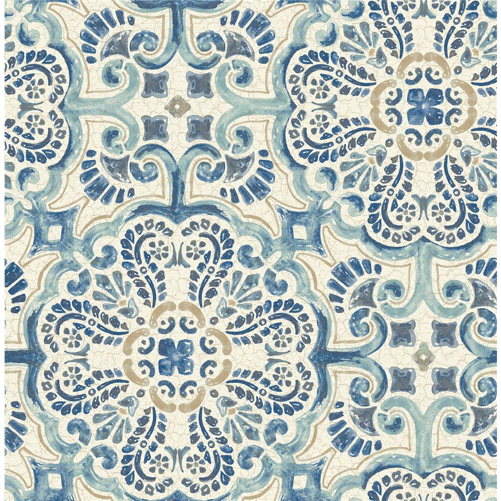 A-Street Prints by Brewster 2540-24046 Restored Florentine Blue Tile Wallpaper