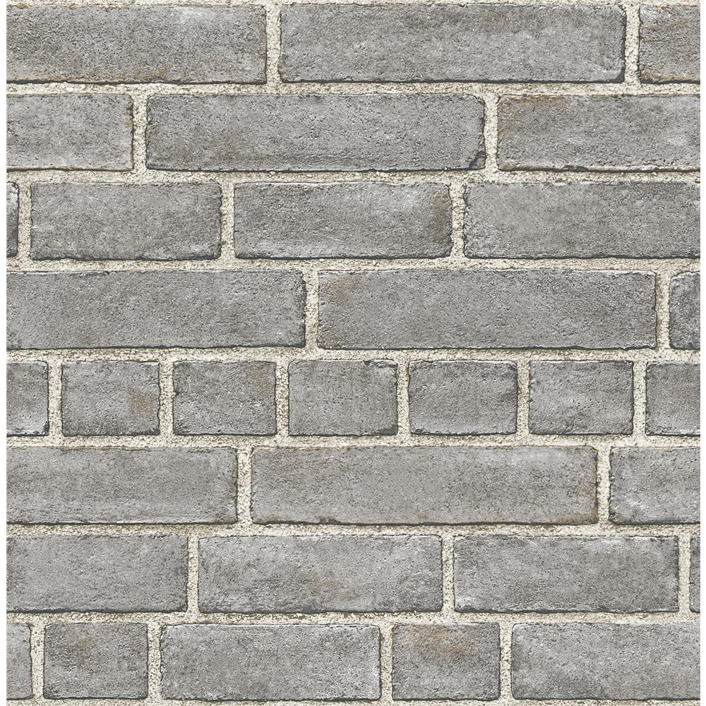 A-Street Prints by Brewster 2540-24050 Restored Façade Grey Brick Wallpaper