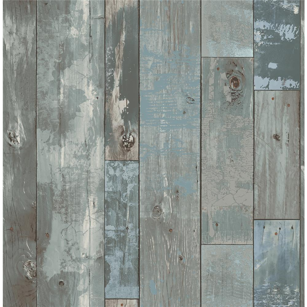 A-Street Prints by Brewster 2540-24053 Restored Deena Blue Distressed Wood Wallpaper