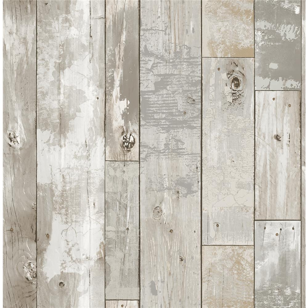 A-Street Prints by Brewster 2540-24054 Restored Deena Grey Distressed Wood Wallpaper