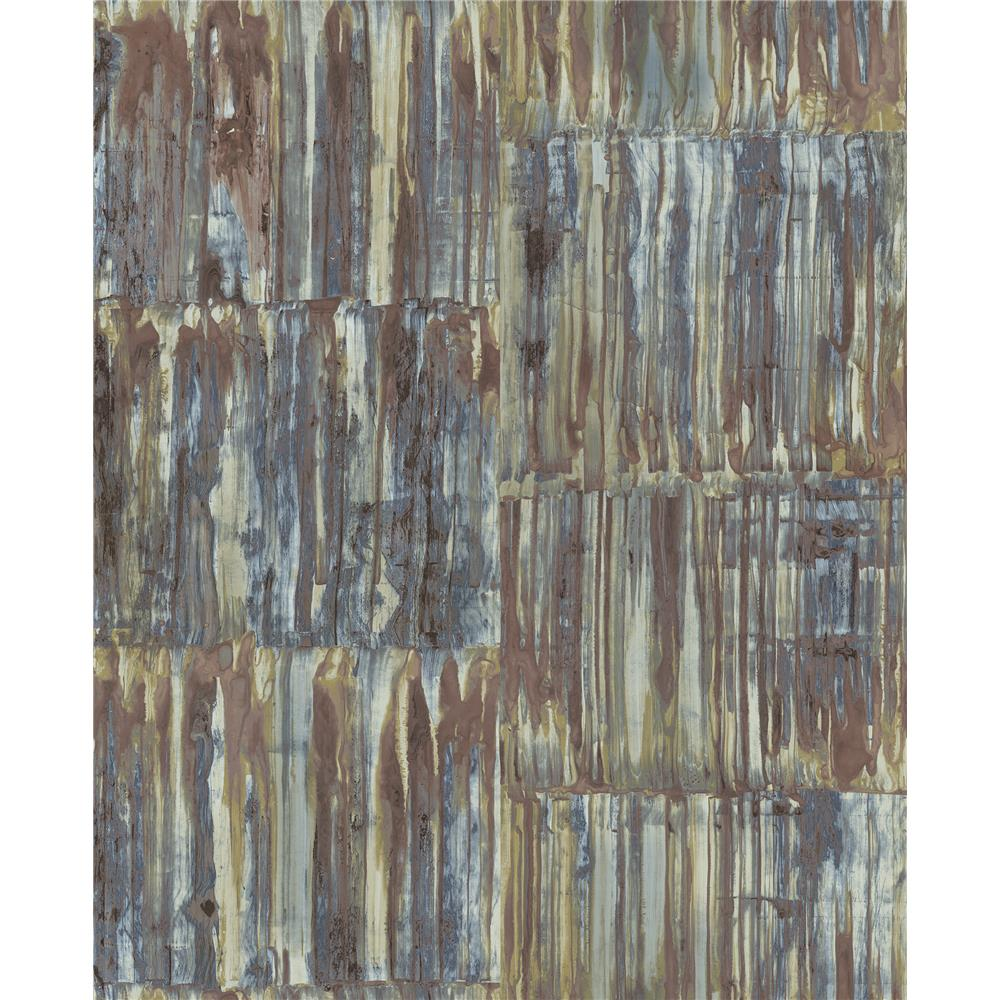 A-Street Prints by Brewster 2540-24064 Restored Patina Panels Multicolor Metal Wallpaper