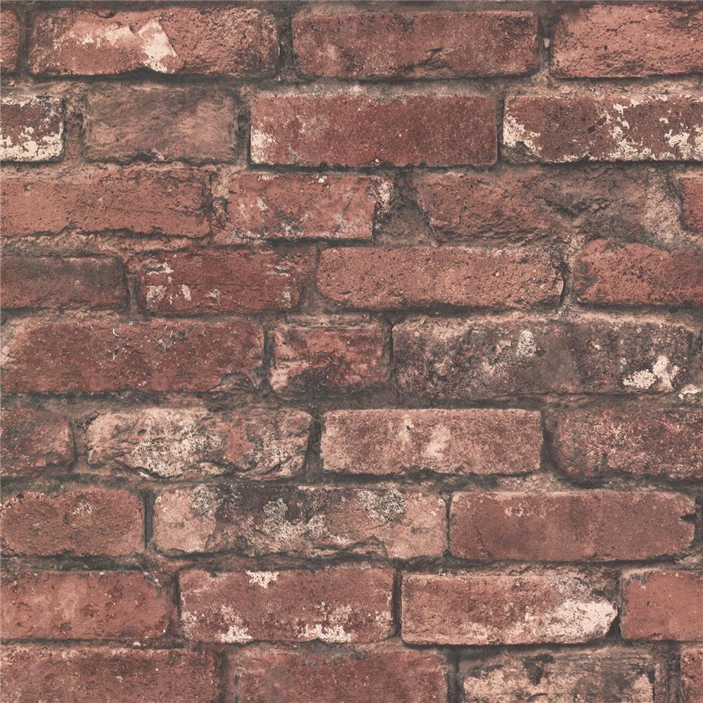 Beacon House by Brewster 2604-21258 Oxford Brickwork Rust Exposed Brick Texture Wallpaper in Rust