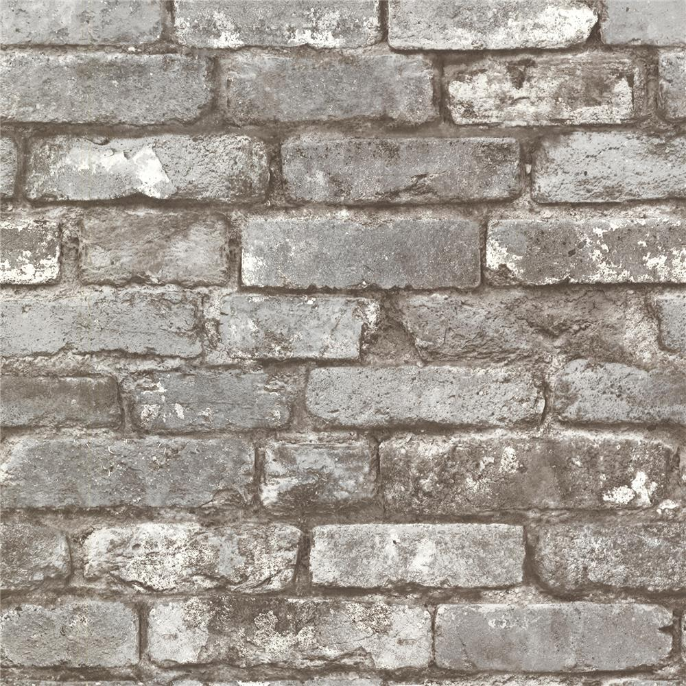 Beacon House by Brewster 2604-21259 Oxford Brickwork Pewter Exposed Brick Texture Wallpaper in Pewter