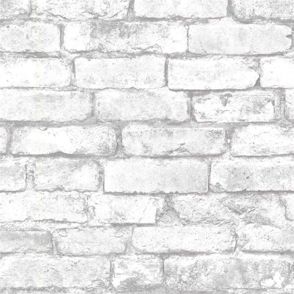 Beacon House by Brewster 2604-21261 Oxford Brickwork Light Gray Exposed Brick Texture Wallpaper in Light Gray