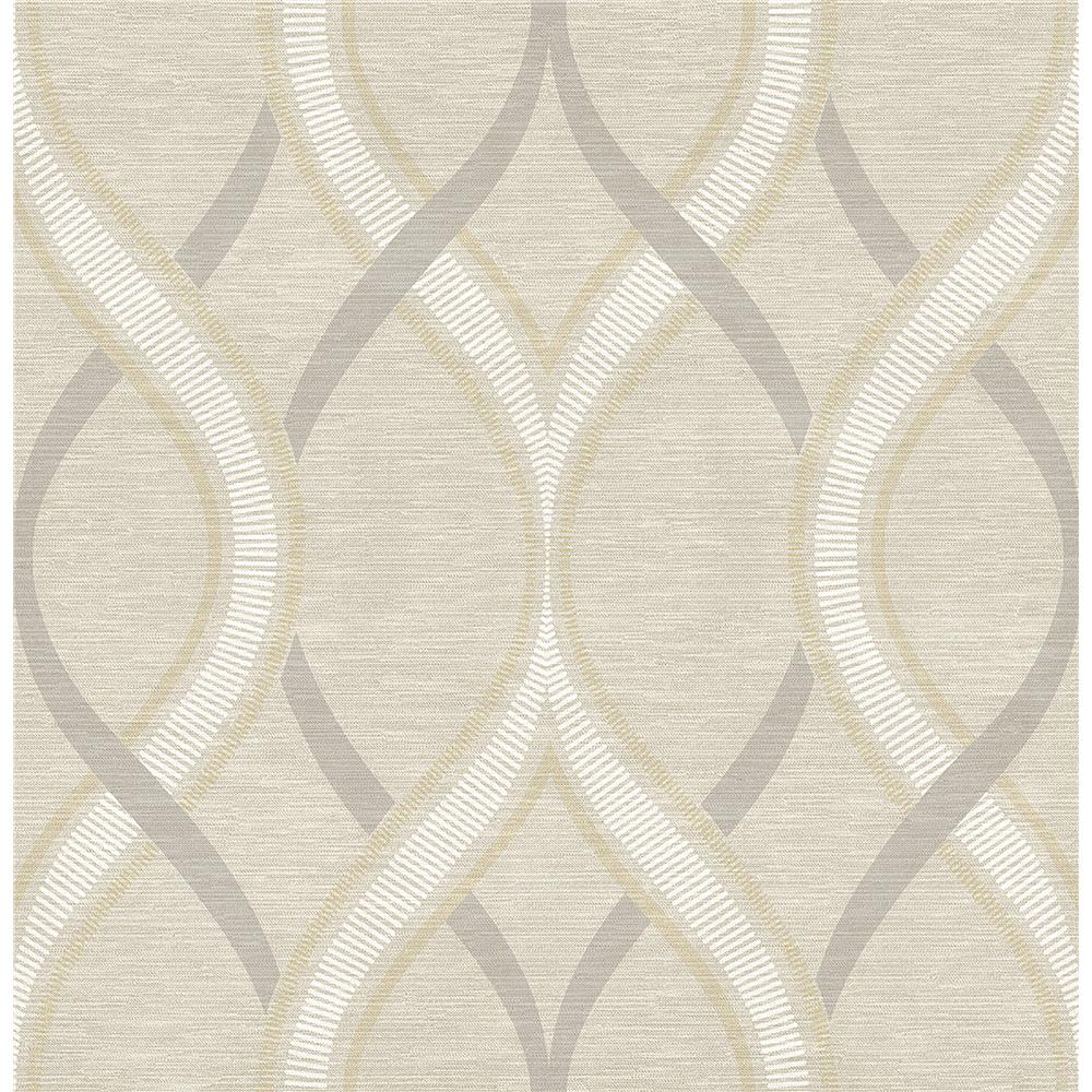 A-Street Prints by Brewster 2625-21849 Symetrie Frequency Beige Ogee Wallpaper in Beige