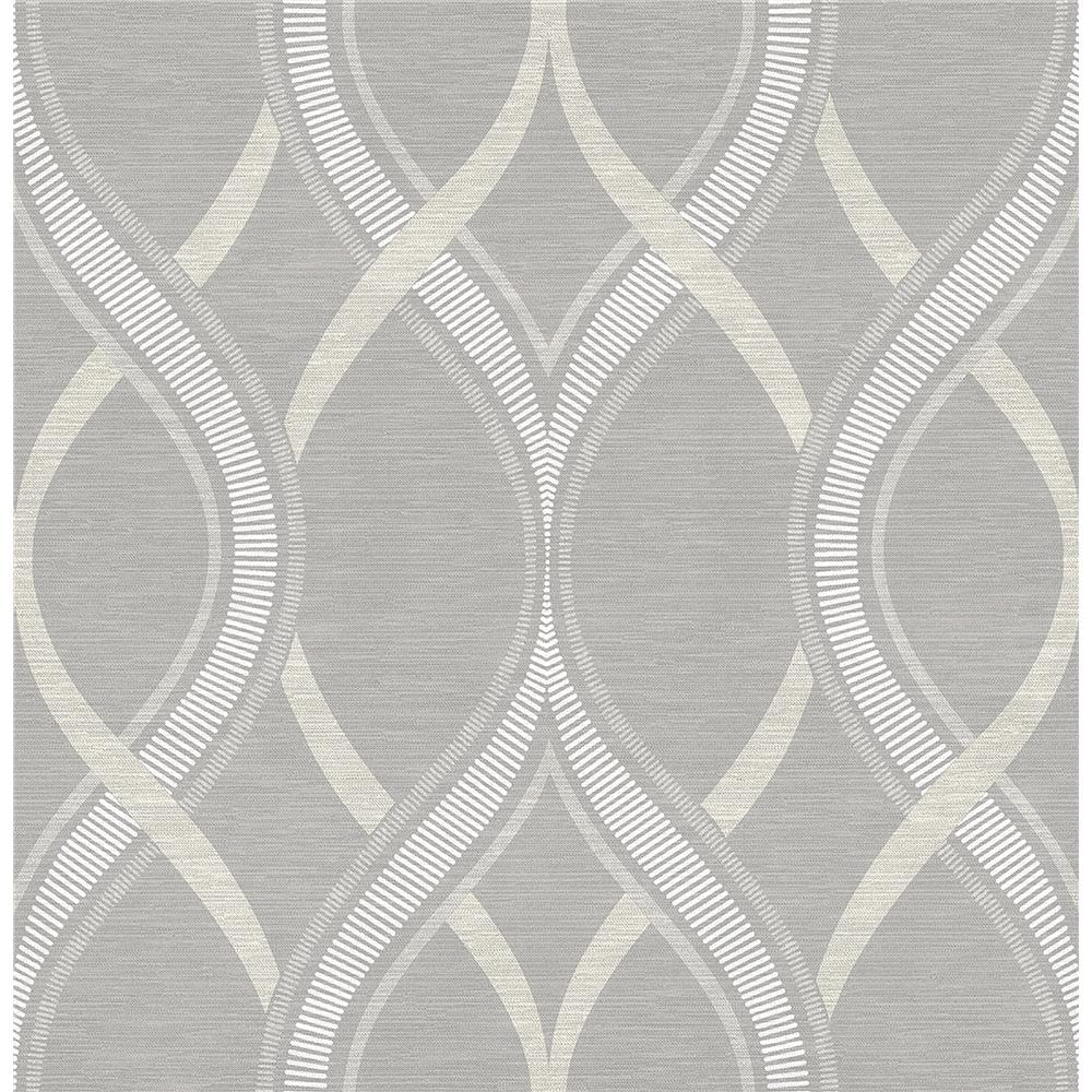 A-Street Prints by Brewster 2625-21850 Symetrie Frequency Gray Ogee Wallpaper in Gray