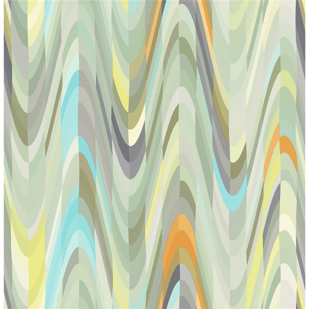 A-Street Prints by Brewster 2656-004000 Aurora Green Geometric Wave