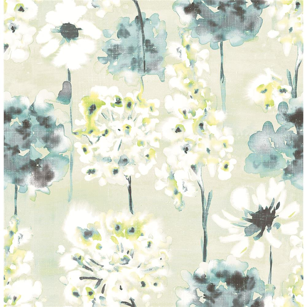 A-Street Prints by Brewster 2656-004018 Marilla Aquamarine Watercolor Floral