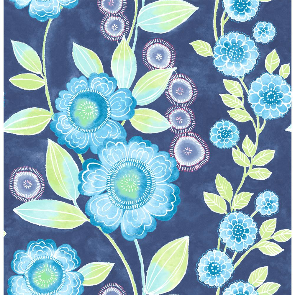 A-Street Prints by Brewster 2656-004031 Bloom Blue Floral