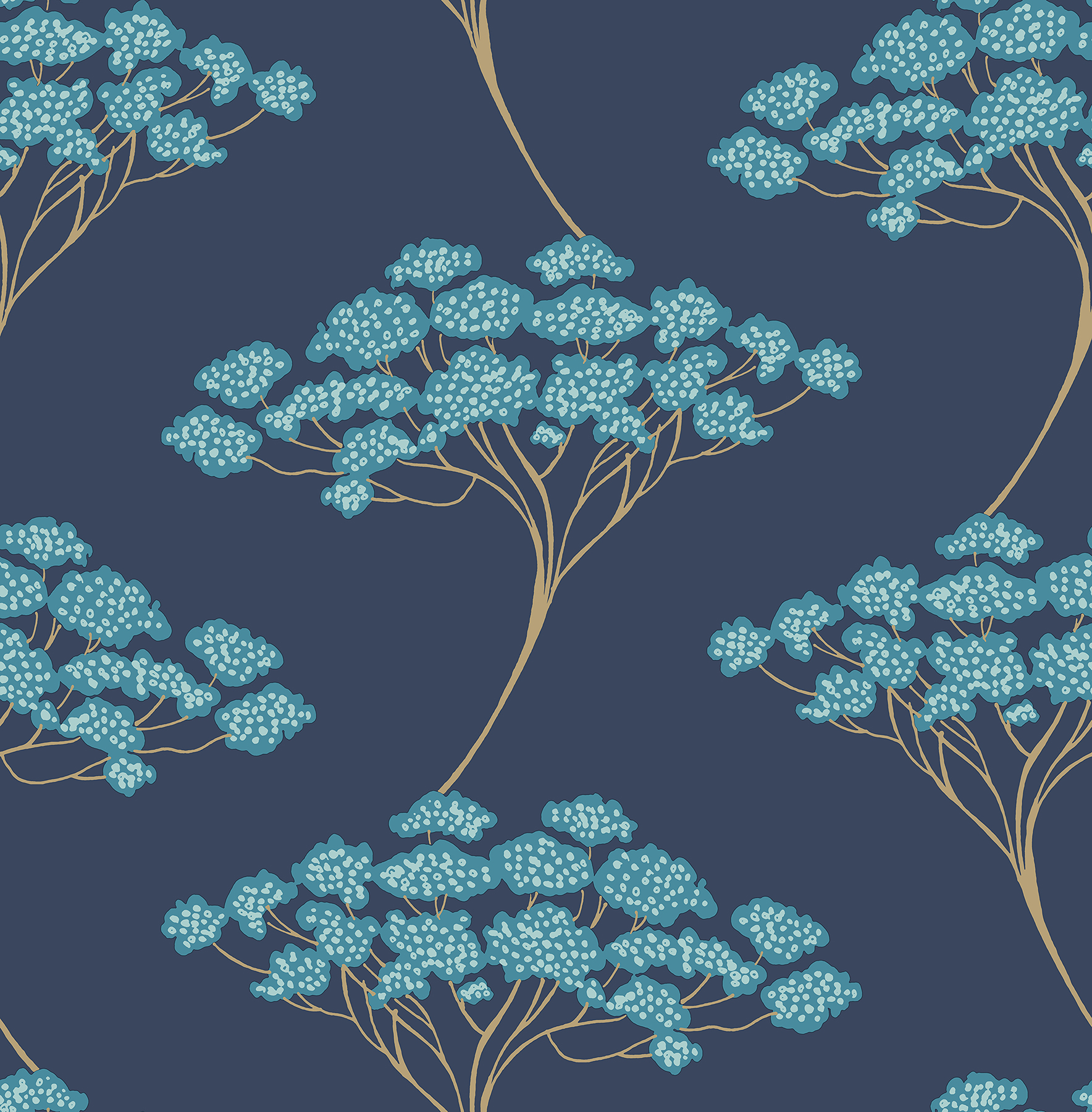 Kenneth James by Brewster 2671-22409 Banyan Navy Tree Wallpaper
