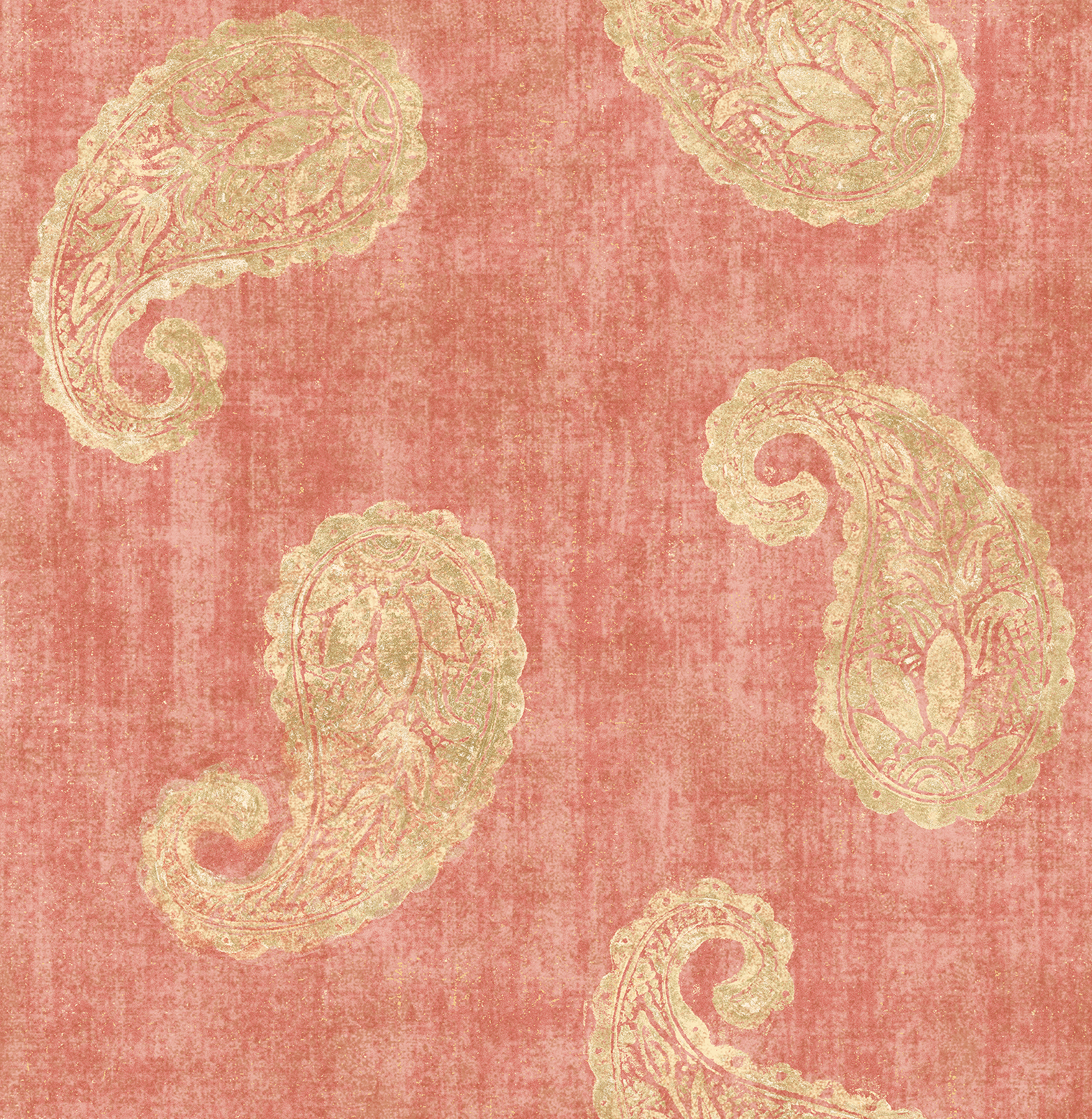 Kenneth James by Brewster 2671-22418 Kashmir Coral Paisley Wallpaper