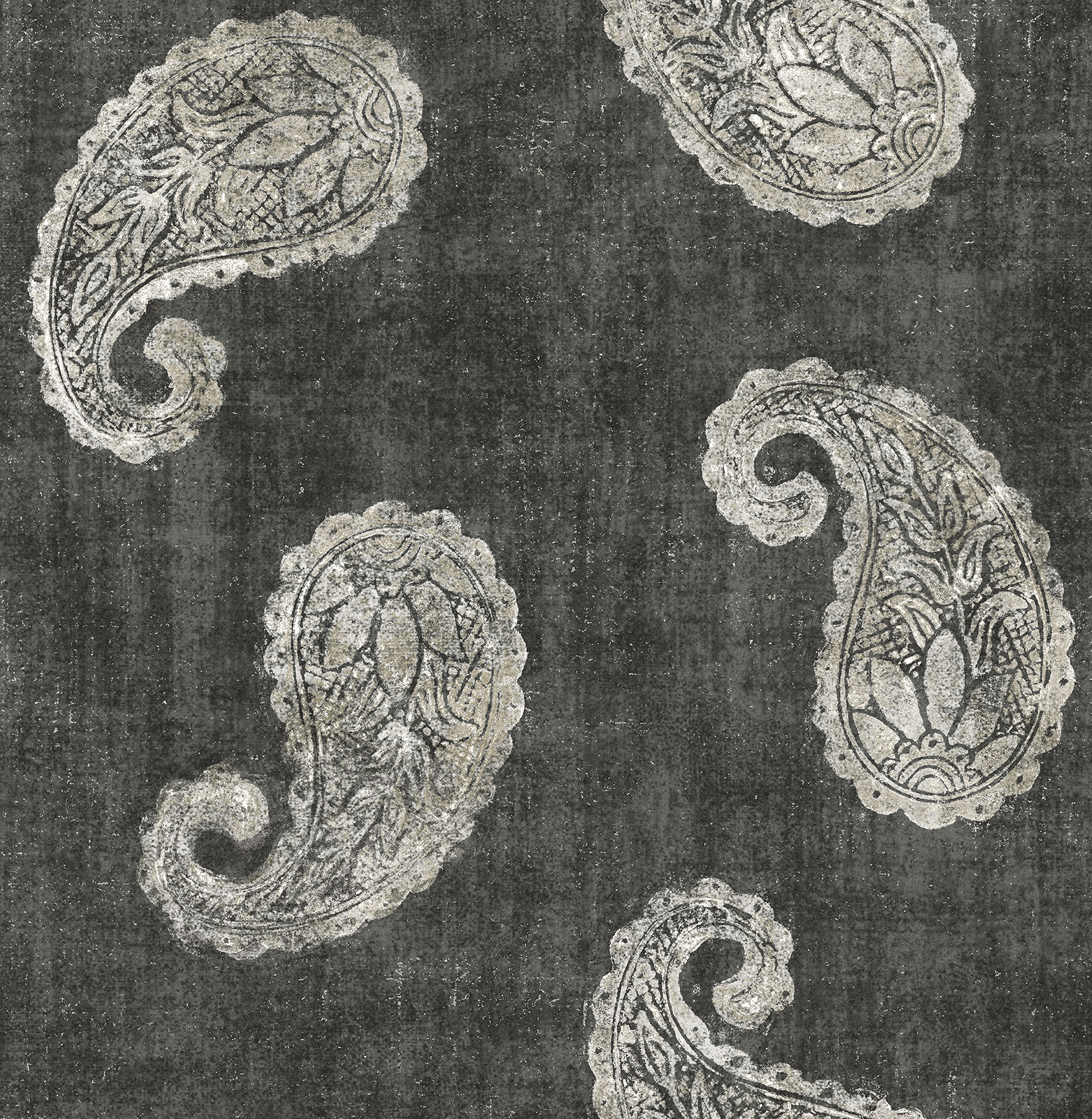 Kenneth James by Brewster 2671-22419 Kashmir Charcoal Paisley Wallpaper