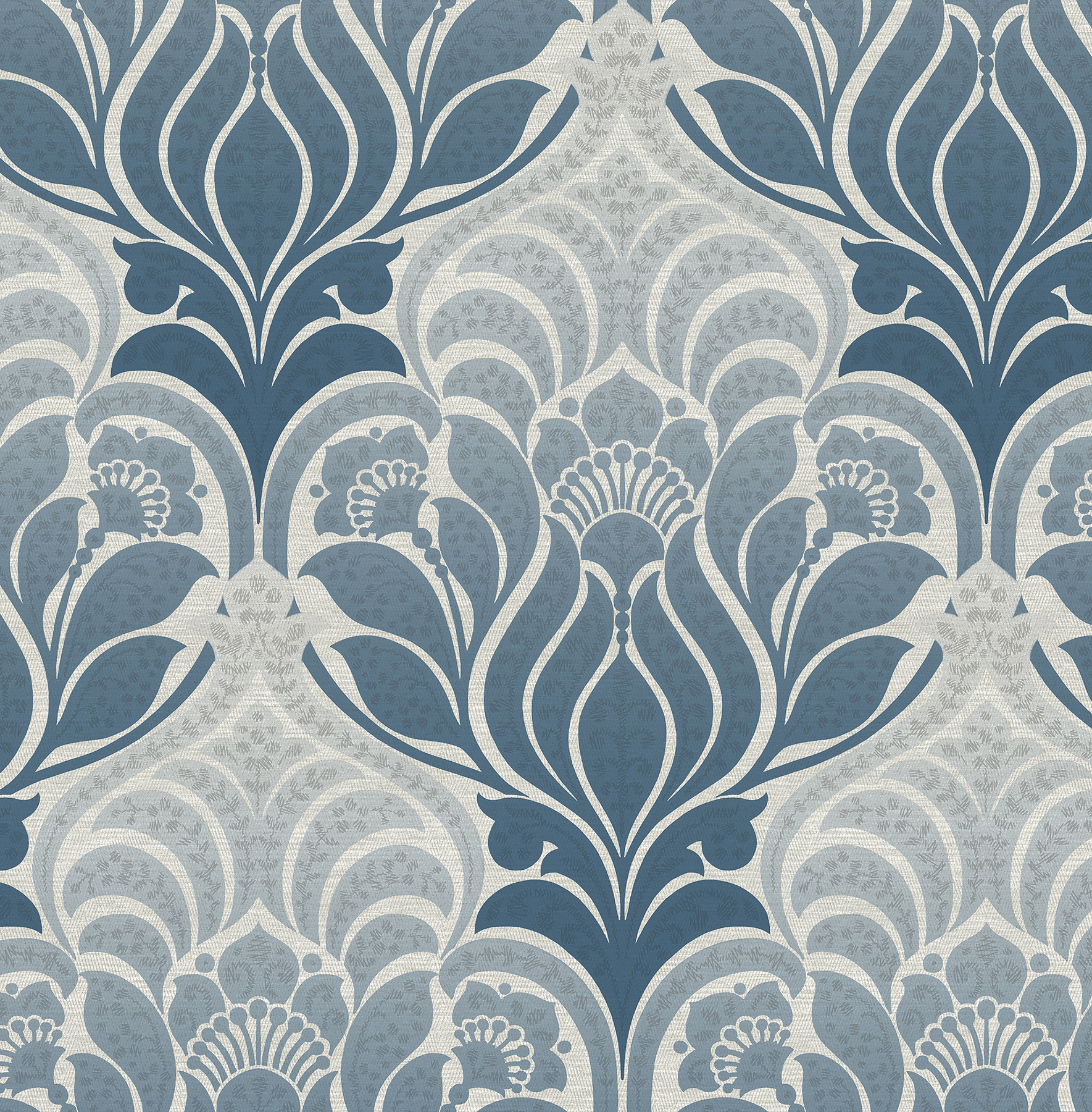 Kenneth James by Brewster 2671-22425 Twill Blue Damask Wallpaper