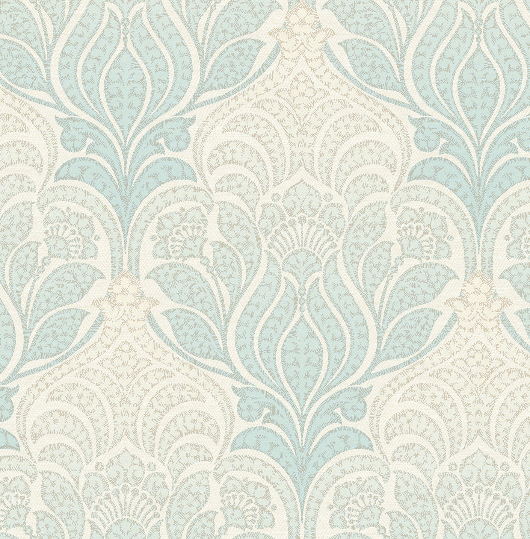 Kenneth James by Brewster 2671-22426 Twill Sage Damask Wallpaper