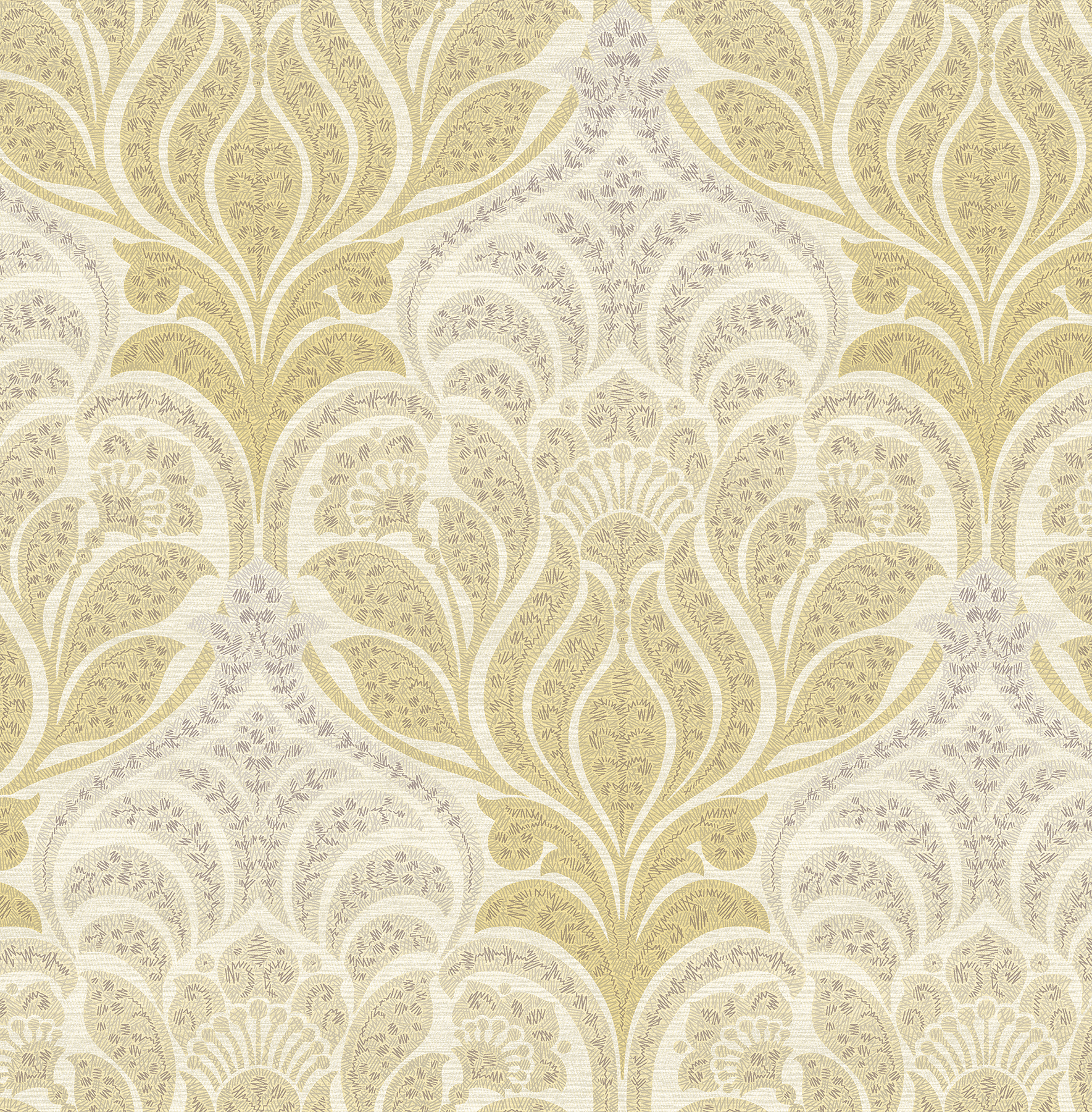 Kenneth James by Brewster 2671-22427 Twill Yellow Damask Wallpaper