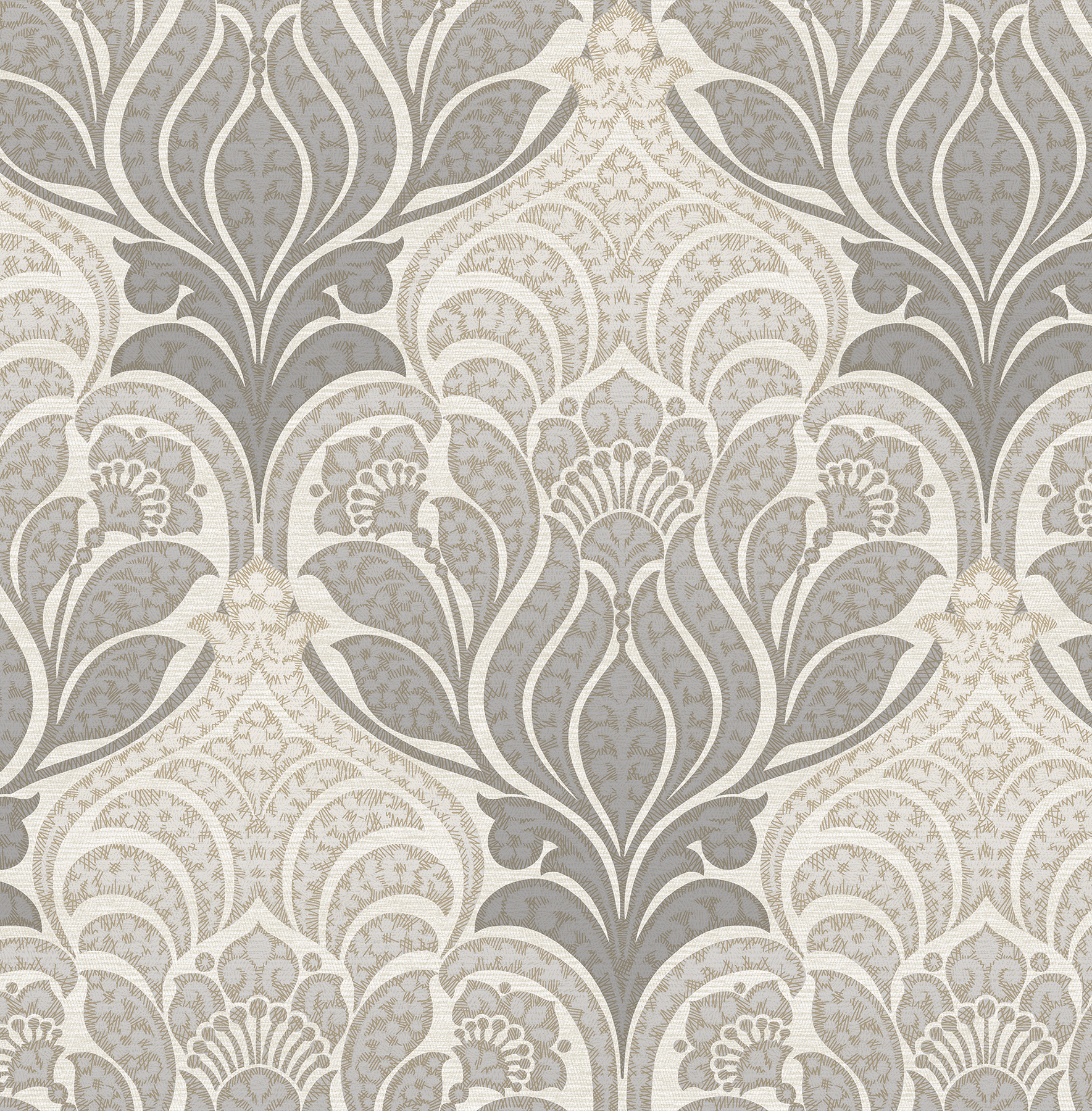 Kenneth James by Brewster 2671-22428 Twill Charcoal Damask Wallpaper