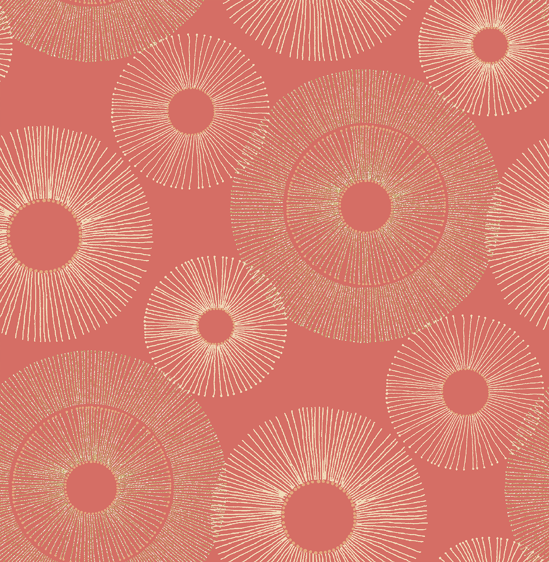 Kenneth James by Brewster 2671-22450 Eternity Coral Geometric Wallpaper