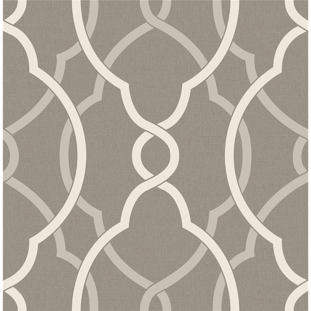 A-Street Prints by Brewster 2697-22626 Sausalito Grey Lattice Wallpaper