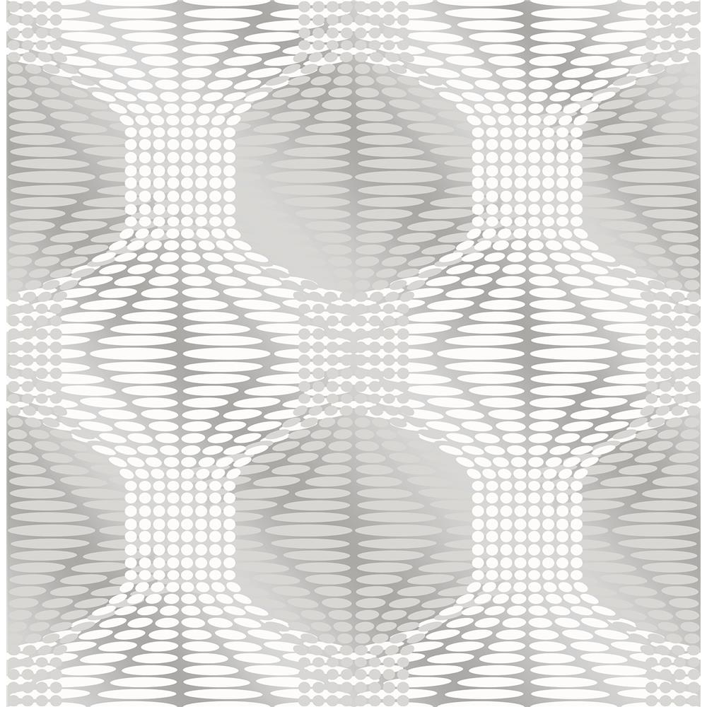A-Street Prints by Brewster 2697-22628 Optic Silver Geometric Wallpaper