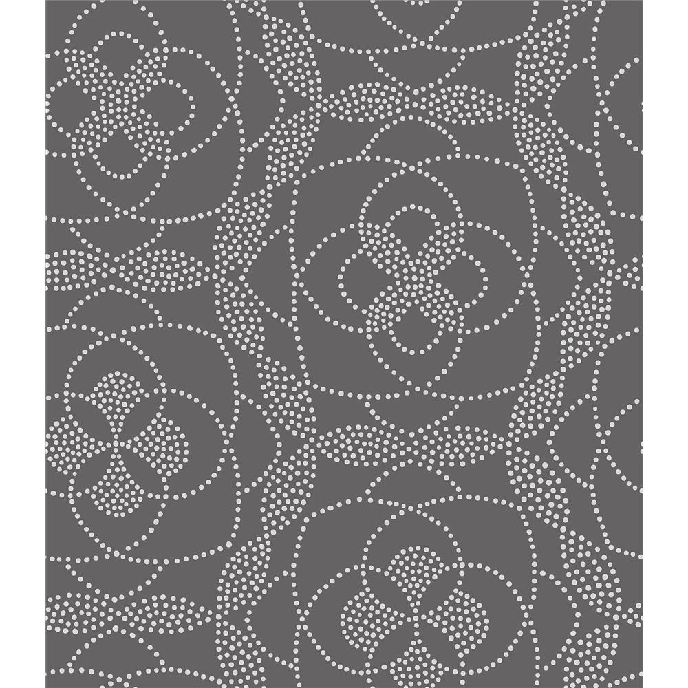 A-Street Prints by Brewster 2697-22636 Cosmos Charcoal Dot Wallpaper