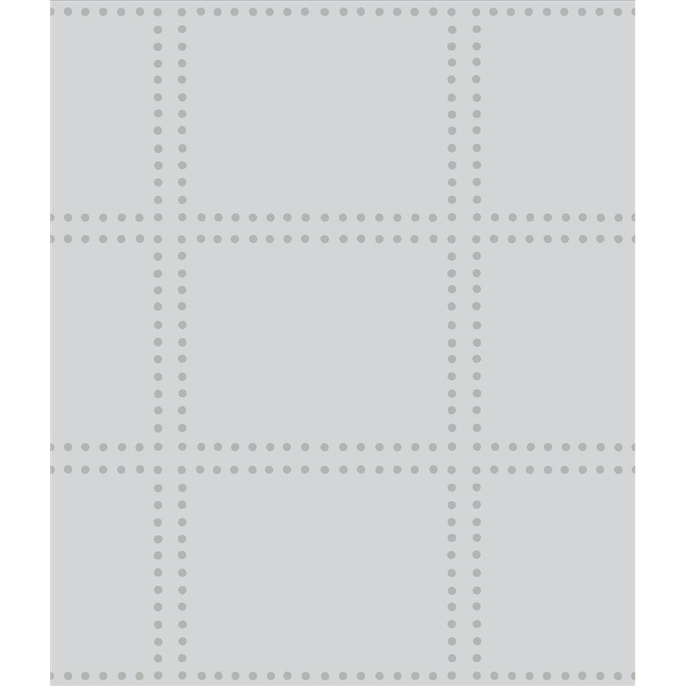 A-Street Prints by Brewster 2697-22640 Gridlock Light Grey Geometric Wallpaper