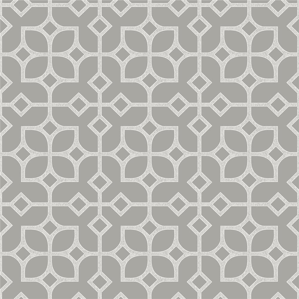 A-Street Prints by Brewster 2697-78024 Maze Light Grey Tile Wallpaper