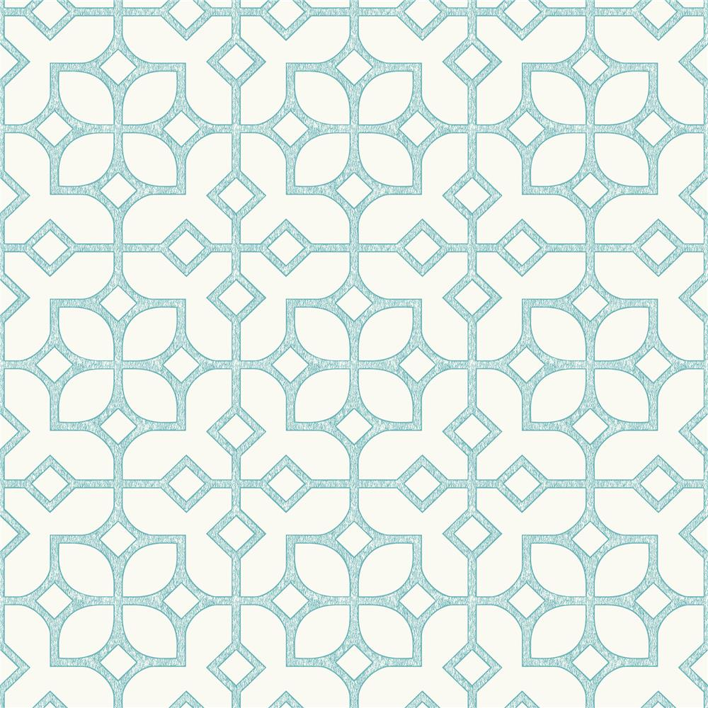 A-Street Prints by Brewster 2697-78025 Maze Turquoise Tile Wallpaper