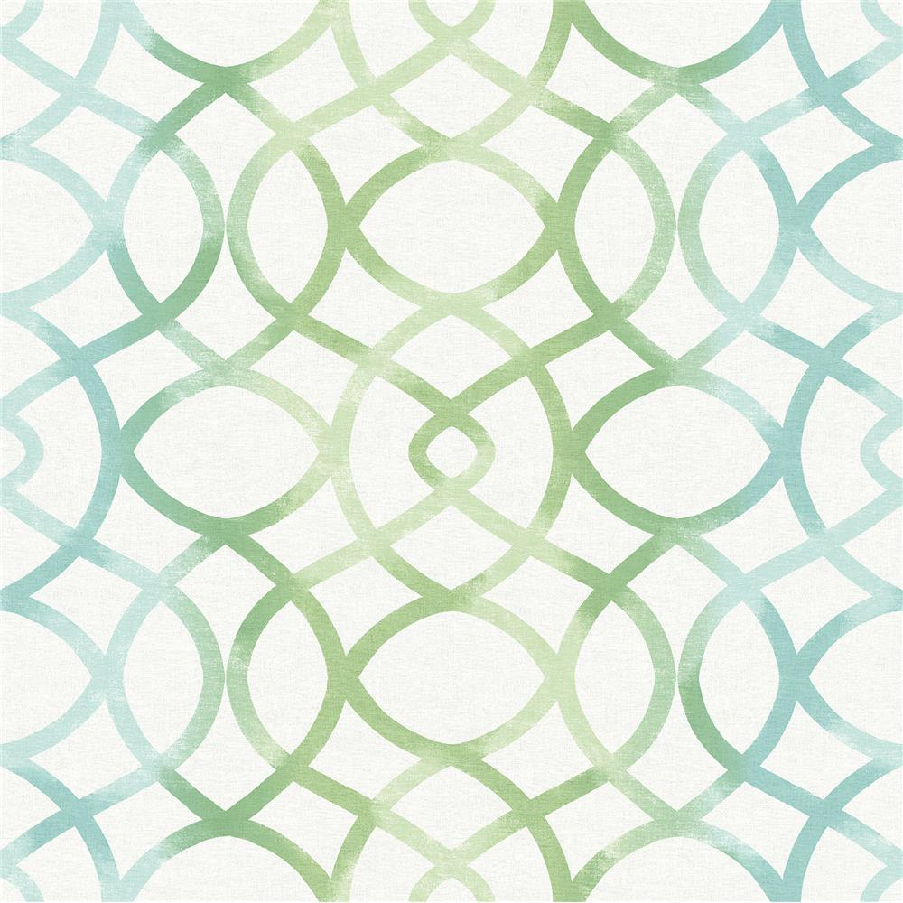 A-Street Prints by Brewster 2697-78032 Twister Aquamarine Trellis Wallpaper